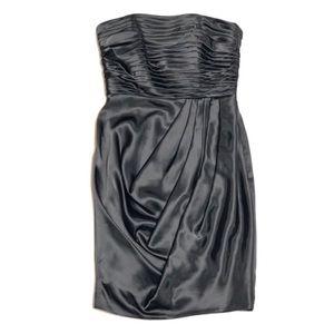 David's Bridal Strapless Black Mini Dress